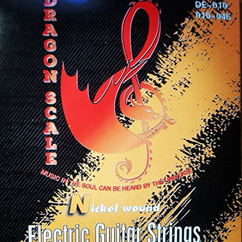 Dragon Scale Guitar Strings- Nickel wound electric guitar strings - 6 string set. 010-046. Perfect For Fender, Gibson, Ibanez, Yamaha & Squier Electric Guitars (10 set)