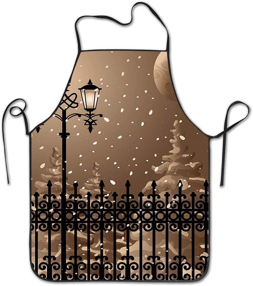 Paisaje congelado Cercas de hierro Tarde de la ciudad Nieve y linternas Gráfico de luna llena Delantal divertido para barbacoa Delantal de cocina Cocina creativa Parrilla para hornear Delantal de jard