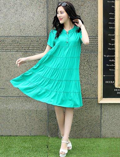PU&PU Robe Aux femmes Grandes Tailles Grandes Tailles / Décontracté / Mignon , Couleur Pleine Mao Mi-long Coton , black-l , black-l