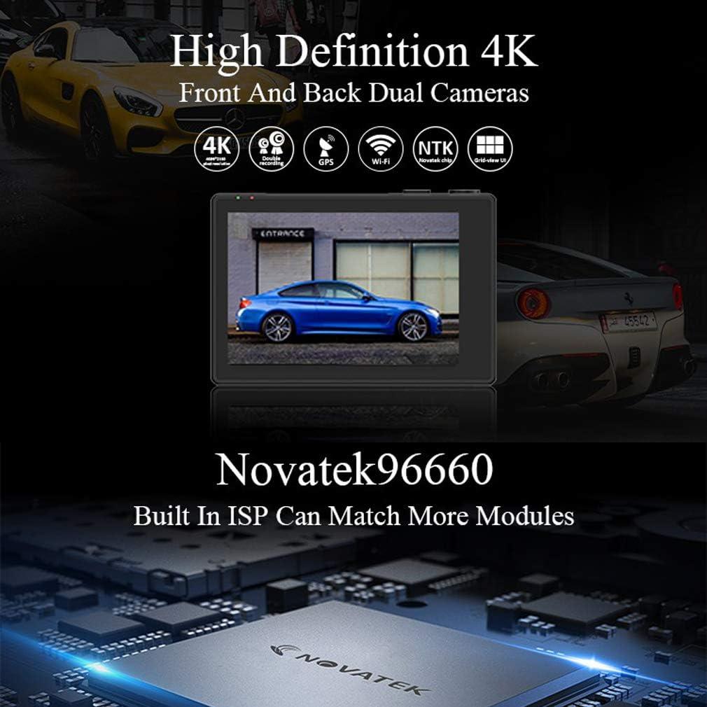 SZKJ GS31 Cam/éra embarqu/ée avec cam/éra arri/ère 1080P pour Voiture 4K Ultra HD GPS WiFi 2160P avec cam/éra arri/ère 1080P Vision Nocturne Double Objectif