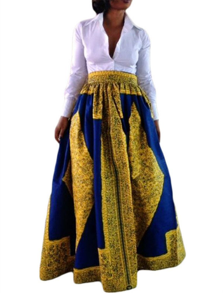 VIGVOG Women's Ethnic Plus-Size African Print Pull-on Maxi A-line Skirt (XL, LC65008-7)