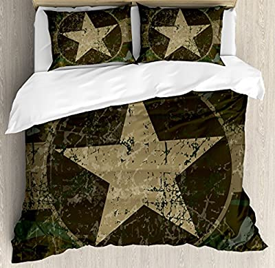 Camo Duvet Cover Set by Ambesonne, Grunge Dusty Dirty Design with a Star in Circle Undercover War Theme, Decorative Bedding Set with Pillow Shams, Army Green Beige Dark Brown