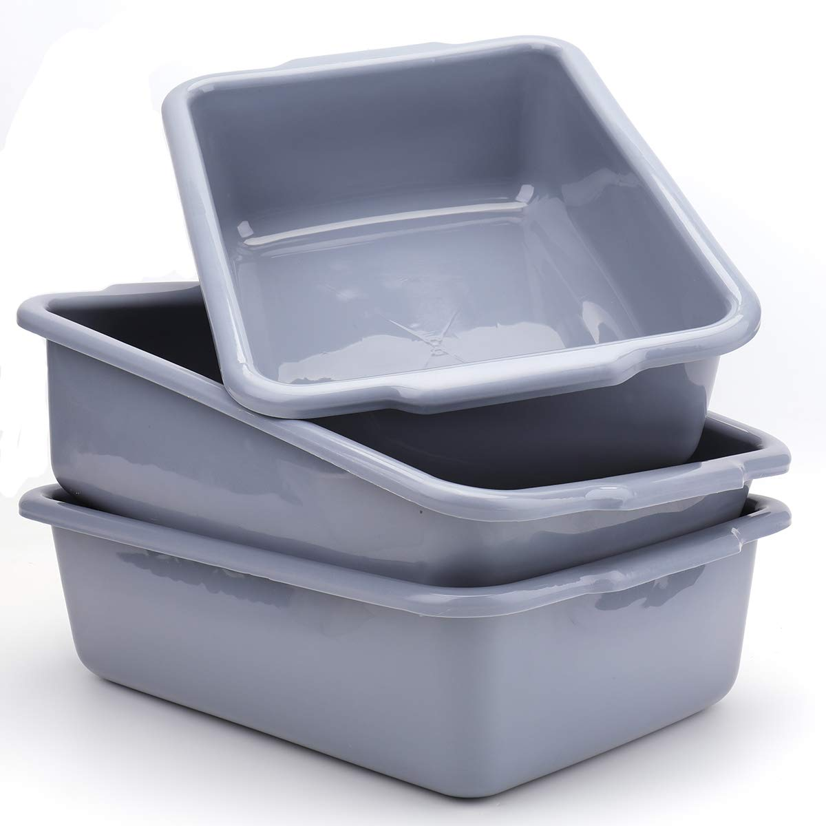 Bekith 3 Pack Plastic Dish Tubs, 13L Commercial Bus Box Wash Tub Basin Tote Box, Grey