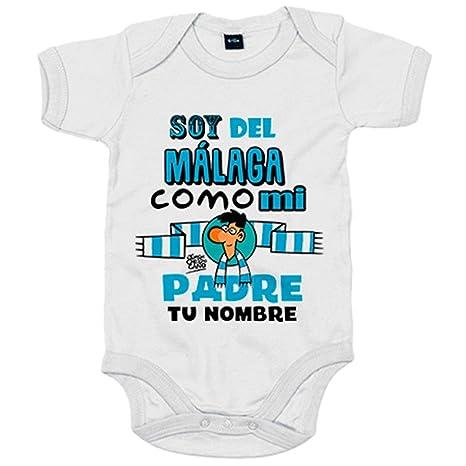 Body bebé soy del Málaga como mi padre personalizable con nombre - Blanco, 6-