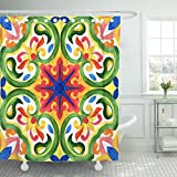 TOMPOP Shower Curtain Portuguese Azulejo Tiles Green Gorgeous Patterns for Cases Smartphones Pillows Towels Linens Waterproof Polyester Fabric 60 x 72 Inches Set with Hooks