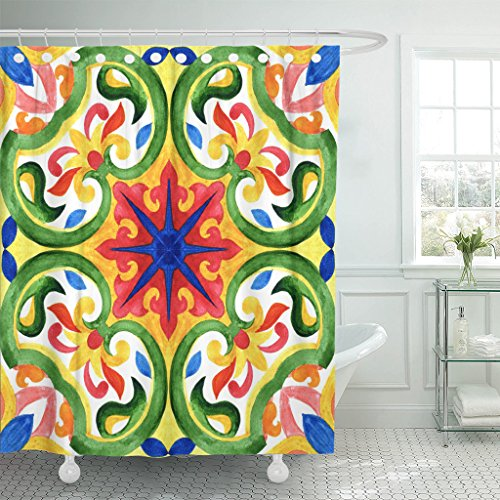 TOMPOP Shower Curtain Portuguese Azulejo Tiles Green Gorgeous Patterns for Cases Smartphones Waterproof Polyester Fabric 72 x 72 Inches Set with Hooks