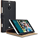 Nokia Lumia 1520 Low Profile Faux Leather Wallet Case with Viewing Stand - By Covert (Black)