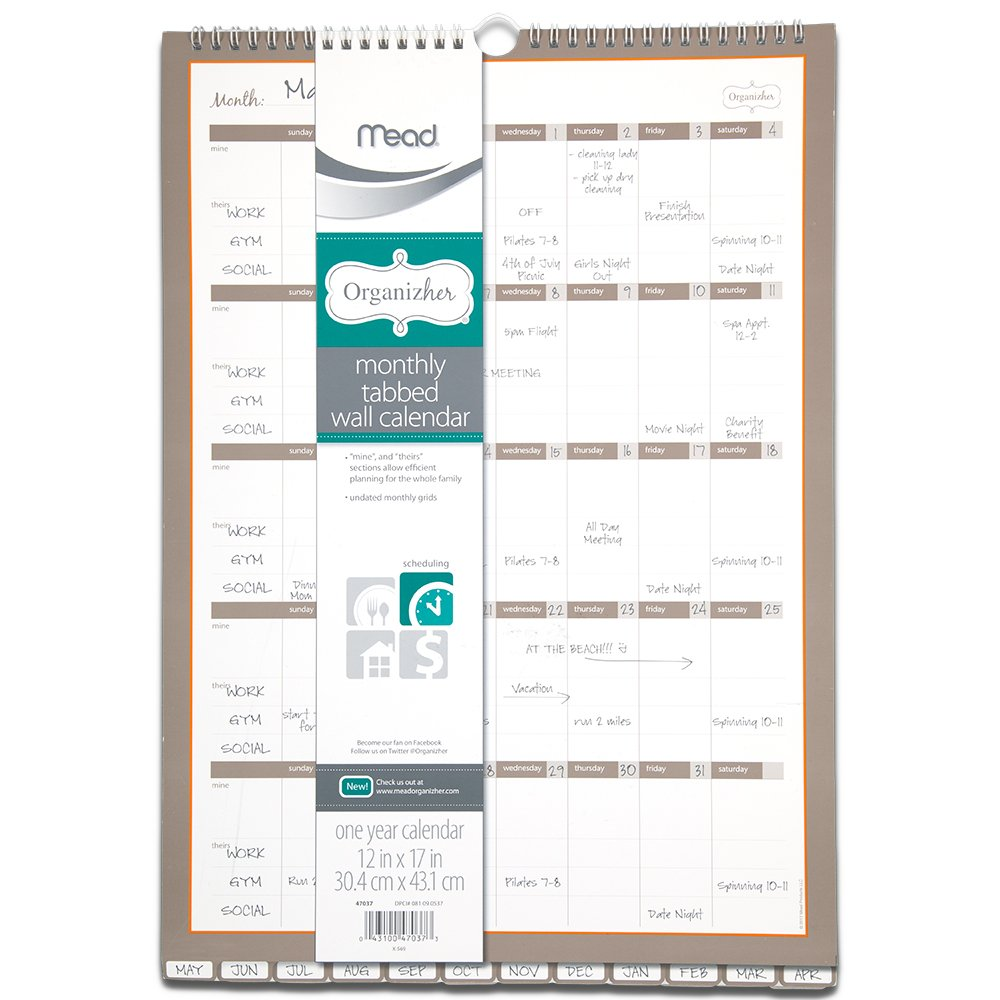 Mead Organizher Monthly Undated Tabbed Wall Calendar, One Year, 12 x 17 Inches (47037)