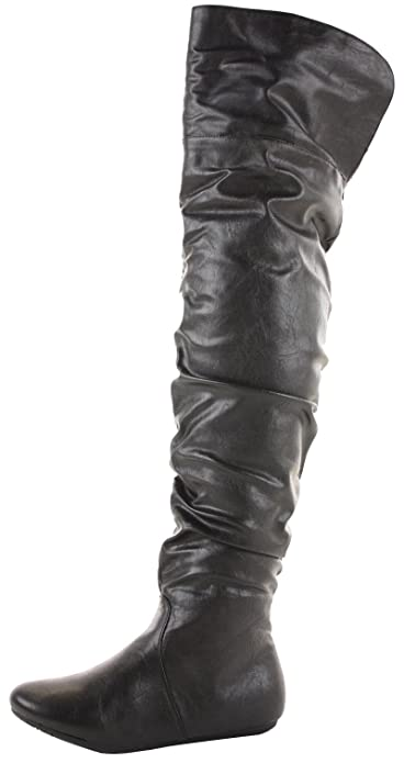 31731c4a1ee Black Faux Leather Size 6 - Ladies Flat Winter Biker Style Low Heel Over  The Knee Thigh High Pull on Knee Boots  Amazon.co.uk  Shoes   Bags