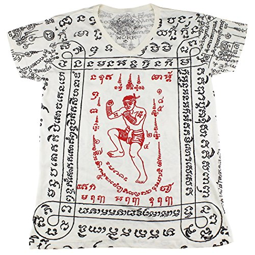 [WORK muay thai tattoo sak yant mma kickboxing T-Shirt White / WK13 size M] (Muay Thai Fighter Costume)