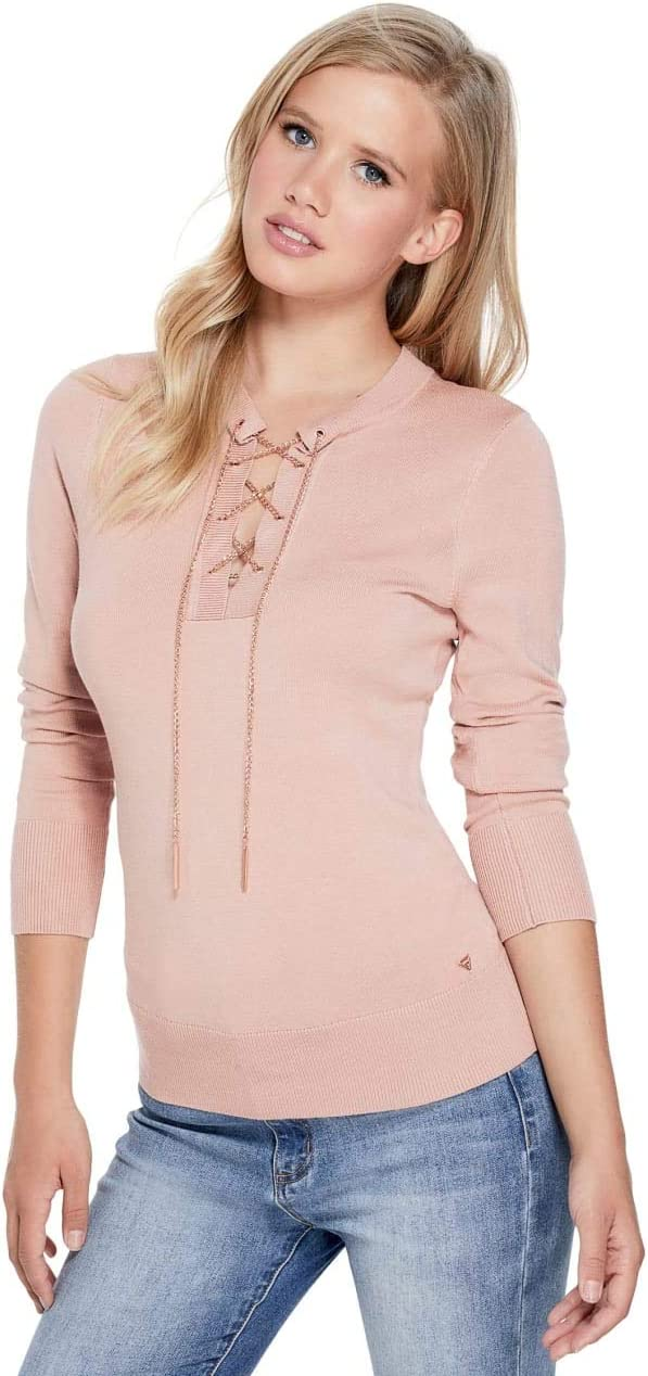 Guess Factory Womens Evelia Lace-Up Chain Sweater