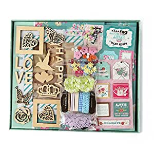 "FaCraft Scrapbook Kit for Teenage Girls,Scrapbooking with Protecters Pockets for Pages (10.5""x9"",Green)"