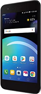 LG Phoenix 4 AT&T Prepaid Smartphone with 16GB, 4G LTE, Android 7.1 OS, 8MP + 5MP Cameras - Black (16 GB + 32 GB SD Card)
