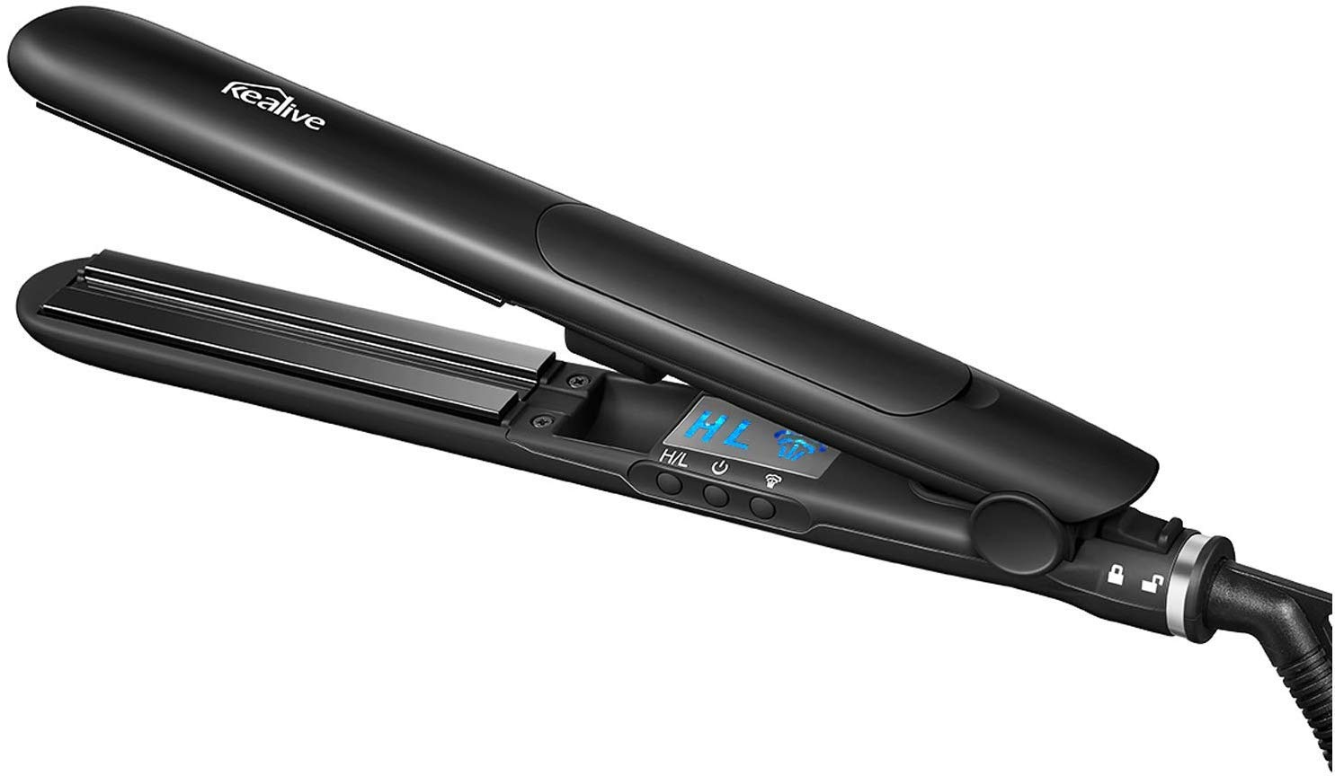 Kealive Professional Flat Iron, Steam Hair Straightener and Curling Iron, 1 Inch Floating Ceramic Plates, Adjustable Temperature, Heat up Fast, Dual Voltage for Travel, 110-240V
