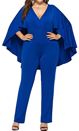 5eca7ceaceb Herdomen Women s Plus Size Pleated V Neck Club Party Jumpsuit with Attached  Flowing Cape Black L