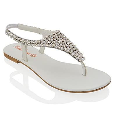 25a5dec4e057 ESSEX GLAM LADIES FLAT DIAMANTE TOE POST WOMENS PEARL HOLIDAY DRESSY PARTY  SANDALS SIZE 3-
