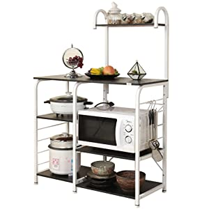 "DlandHome Microwave Cart Stand 35.4"", Kitchen Utility Storage 3-Tier+4-Tier for Baker's Rack & Spice Rack Organizer Workstation Shelf, 172-B Black, 1 Pack"