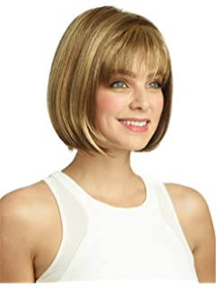 Wigs for White Women Short Straight Hair Wig with Bangs Natural As Real Hair with Wig