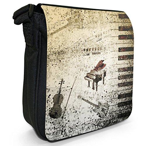 Bag Vintage Notes Guitar Piano Black Size Canvas Music Shoulder Small Grunge qaaxwSEr0