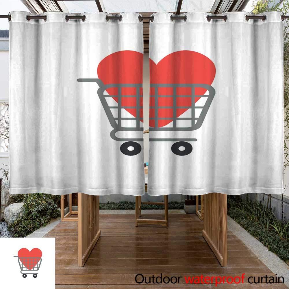 RenteriaDecor Outdoor Curtains for Patio Sheer Flat Design Vector Concept of Heart Inside Shopping cart W108 x L72