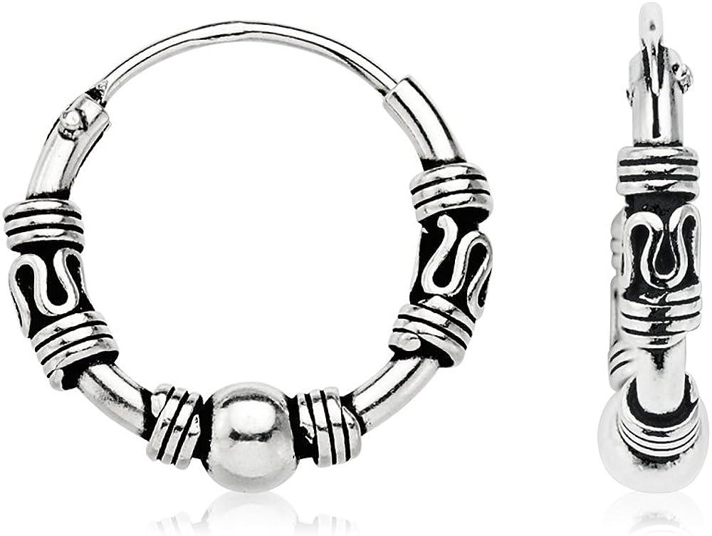 Pendientes Aros mujer plata de ley 925 estilo Bali diametro 12 mm