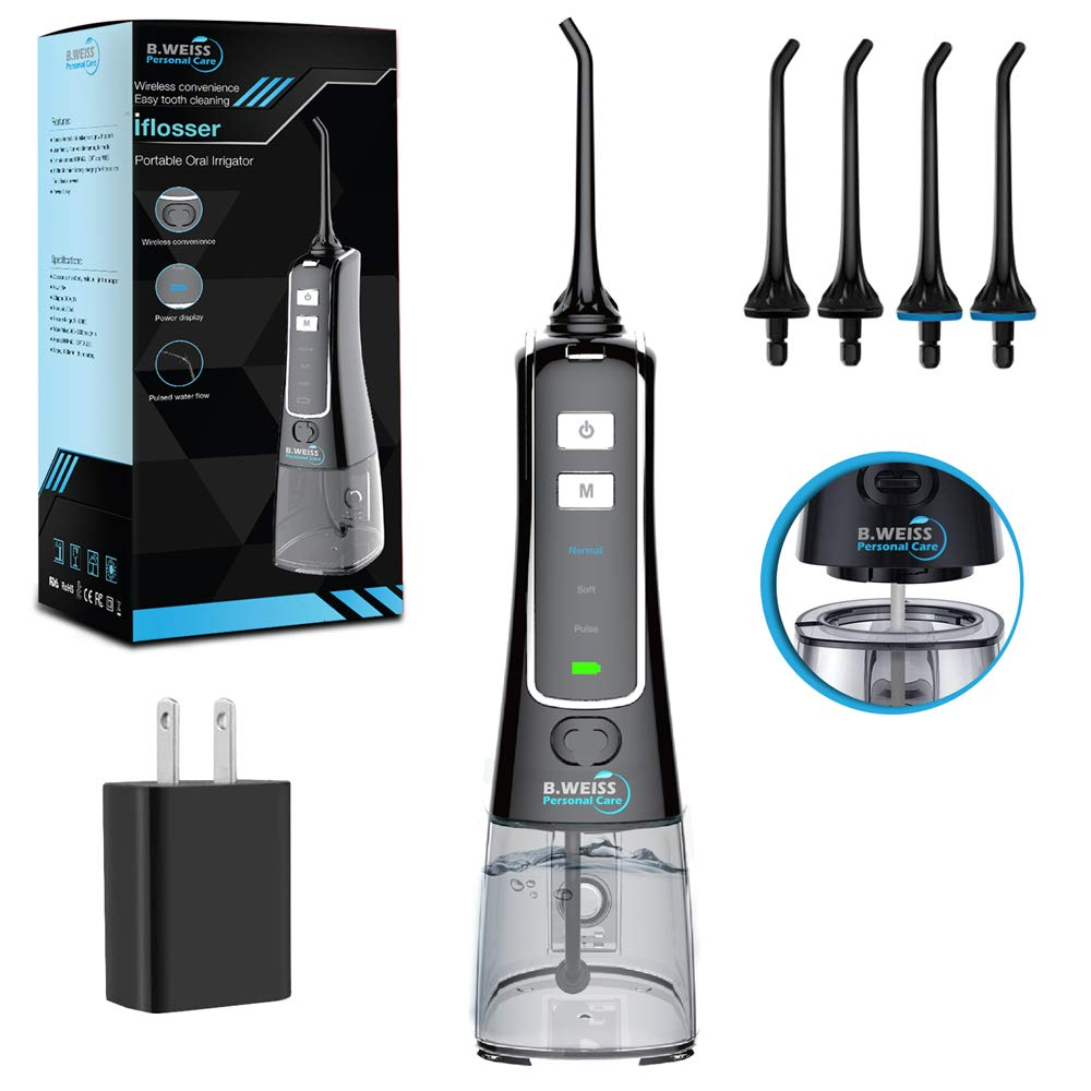 I Flosser BY B. WEISS Portable Oral Irrigator with 4 Jet Tips, Rechargeable Dental Flosser pik with 3 Modes Anti Leakage Design,water jet teeth cleaner Ideal for Adults Kids Use at Home and Travel