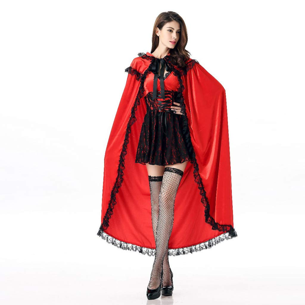 Adult Red Riding Hood Costume Gothic Mini Dress with Hooded Cape Cloak Lace Trim Halloween Masquerade Cosplay Party Stage Dress up Accessories by Armfer-household supply