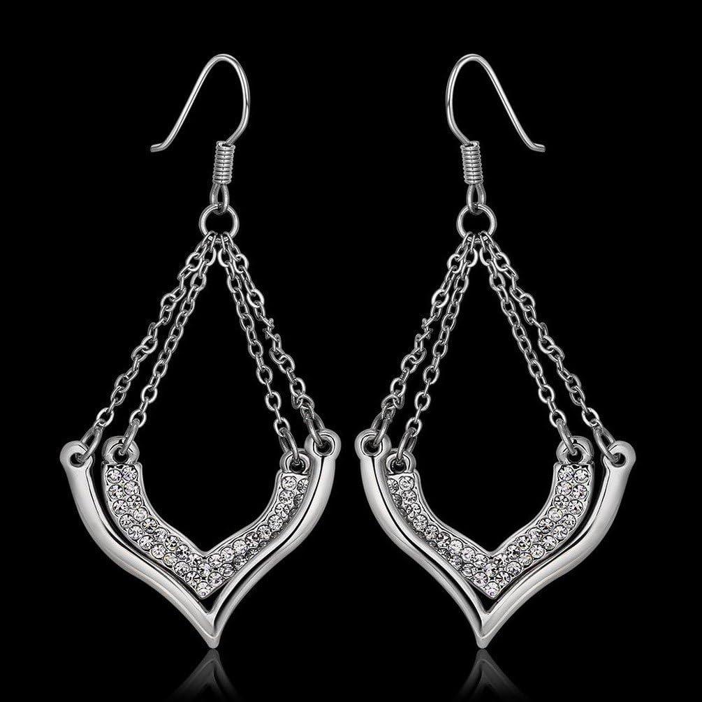 YZQ Pendientes de Mujer,Peque?os Y Exquisitos Pendientes de Diamantes en Forma de Corazón de Oro Rosa/Acero Inoxidable/Hipoalergénicos/Glitter Plateado/Diamantes/Pendientes de Gancho