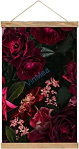 VinMea Canvas Poster Hanging Painting Midnight Summer Botanical Roses, Framed Wooden Print Posters Hanging for Walls Home Decor Canvas Artwork 12