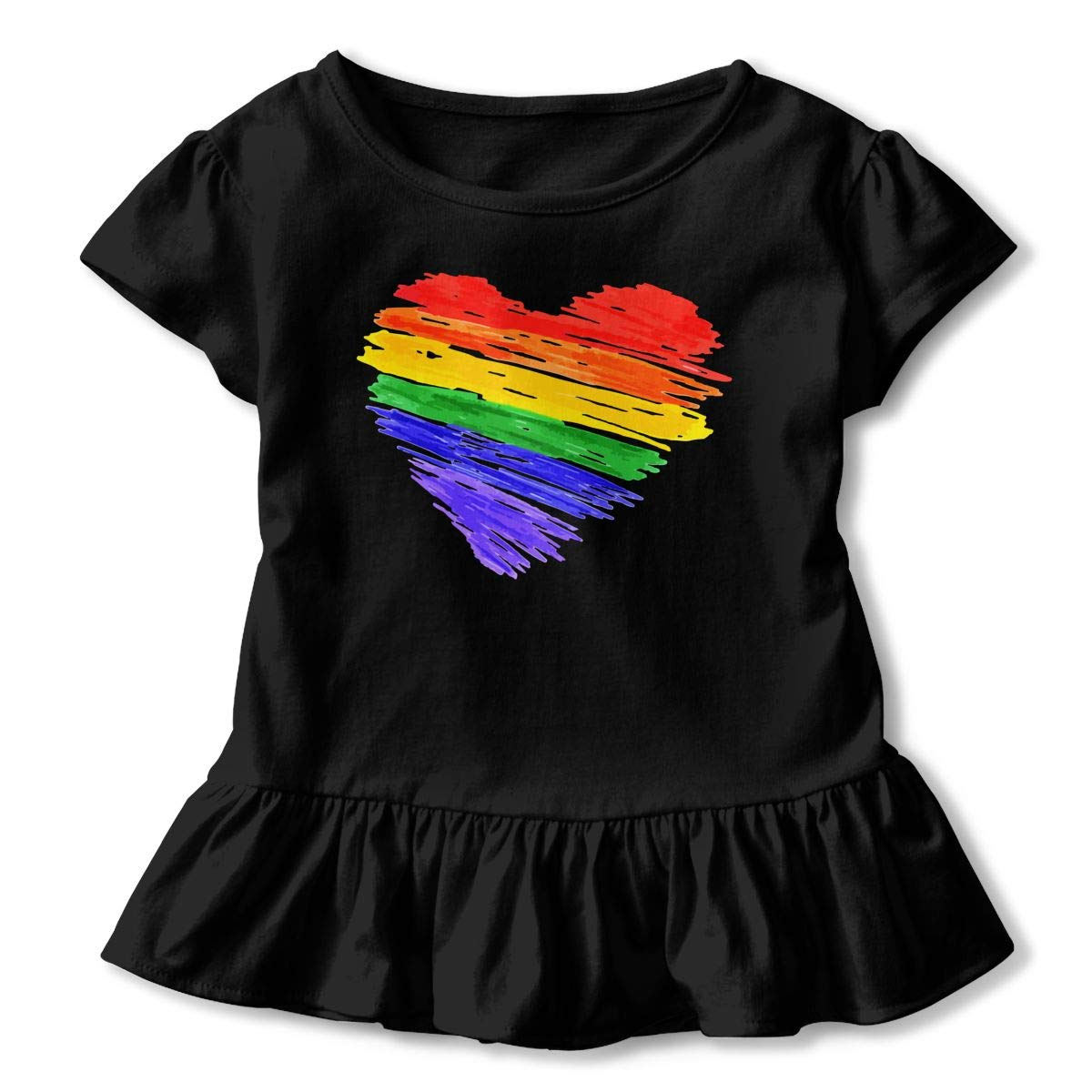 Rainbow Pride Gay Equal Rights Baby Girls Short Sleeve Ruffles T-Shirt Tops 2-Pack Cotton Tee