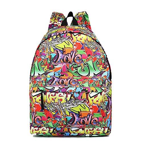 Graffiti Style Canvas Rucksack Fashion Backpack