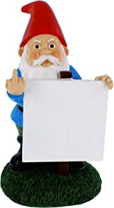 "Gnometastic Middle Finger Gnome with Customizable Protest Sign, 9"" Inches - Funny Sticky Note Holder and Indoor/Outdoor Lawn Gnome Garden Statue"