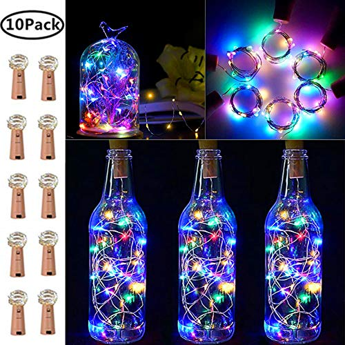 Wine Bottle Lights with Cork, 10 Pack Fairy Lights Battery Operated LED Cork Shape Silver Wire Fairy Mini String Lights for Bedroom, DIY, Party, Wedding Gift Decor Indoor Outdoor (Multicolor)
