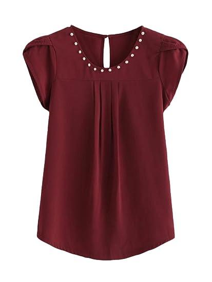 Camisas Mujer Elegantes Verano Manga Corta Cuello Redondo Rosario Camisas Chiffon Camisas Vino Tinto Casuales Fashion