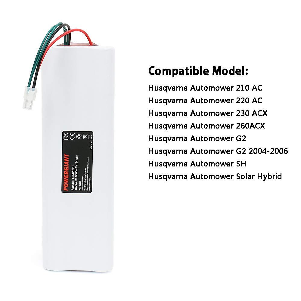 POWERGIANT 18V 3000mAh NIMH Batería para Husqvarna Automower 210AC ...