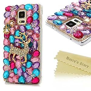 iPhone 5/6/6S/6S de recambios para, / Samsung Galaxy S5 tamaño pequeño/S6/S6 con borde con película para/S6 de recambios para con borde con película para/Nota4/g3608, / Sony Ericsson Xperia Z2 Z3, con tapa-Mavis es LG G2 libro de citas 3D diseño de piedrecitas brillantes con de cristal en forma de muñeco de nieve en reno carcasa de plástico duro cubierta de la Navidad de espalda, transparente, Samsung Galaxy Note 4