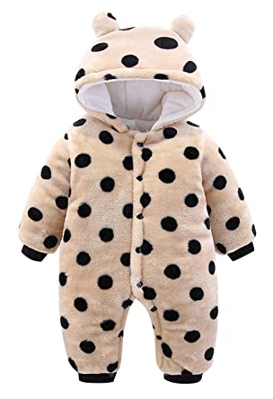 8e2284dbc0ee Amazon.com  krafbean Baby Toddler Infant Flannel Winter Rompers Thicken  Jumpsuit Pajamas  Clothing