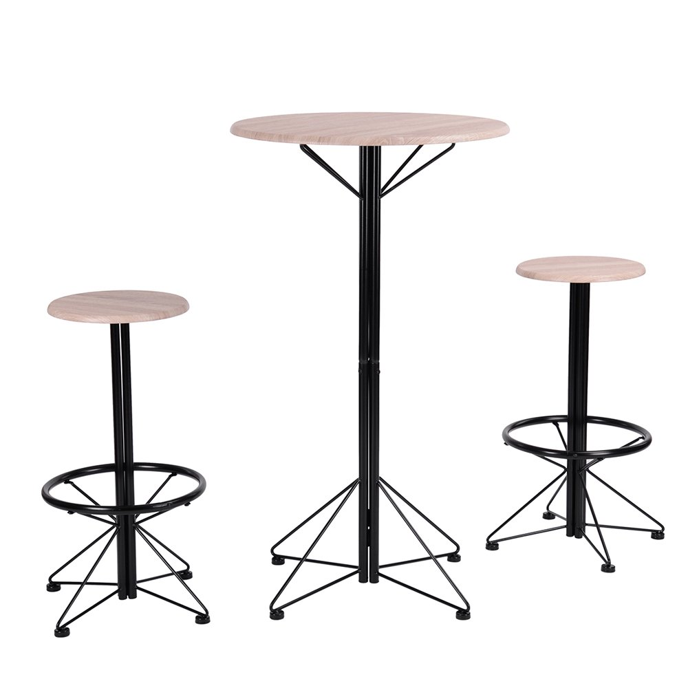 DORAFAIR Vintage Style Bar Table Set - 1 Round Bar Table 2 Stools, Home Kitchen Breakfast Bar Set High Table Furniture Dining Set, MDF+BLACK