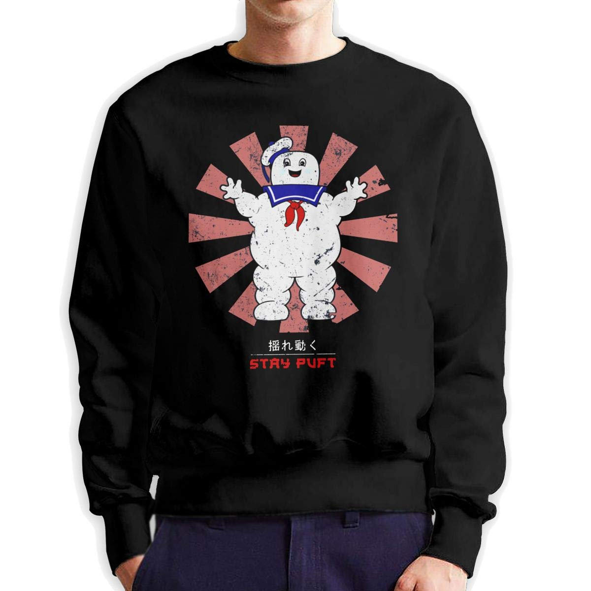 Obagaty Ghostbusters Stay Puft Men Casual Style Crew Neck Sportswear Black