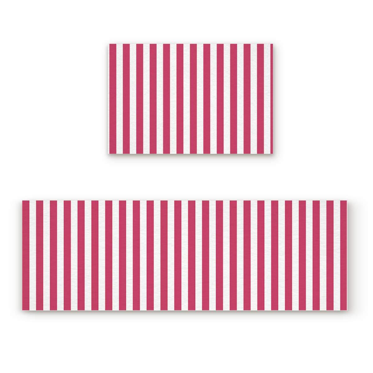 Stripe40FIY7615 23.6x35.4In+23.6x70.9In Findamy Non-Slip Indoor Door Mat Entrance Rug Rectangle Absorbent Moisture Floor Carpet for White and Red Stripe Pattern Doormat 23.6x35.4In+23.6x70.9In
