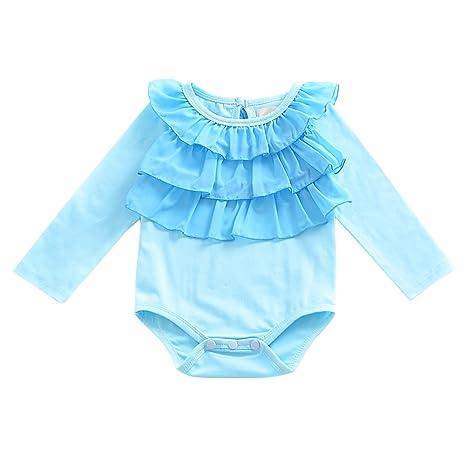 Recién nacido bebé niña Pelele de manga larga Mono azul borde doblado Decoración 0 – 24