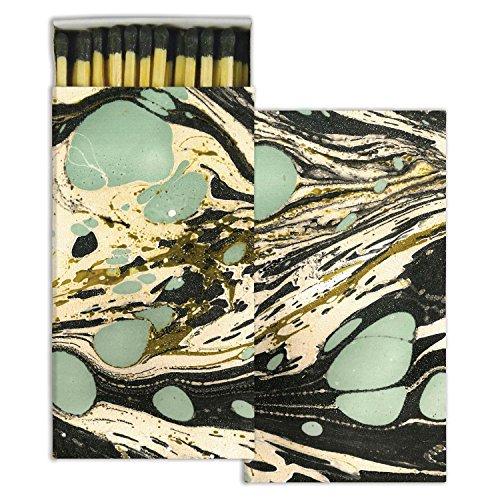HomArt Decorative Match Boxes (Set of 2) Marbleized Paper - Aqua Decorative Matches