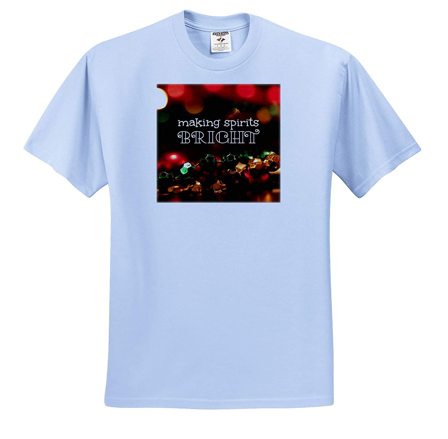 Bokeh Christmas Lights and Colorful Beads Typography - T-Shirts 3dRose Stamp City Making Spirits Bright