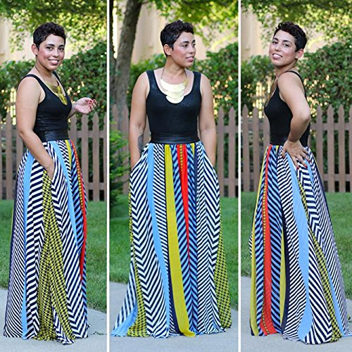 Usstore Women Bohemian Off The Shoulder Backless African Print Dresses (S) by Usstore (Image #9)