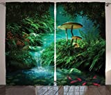 Curtains with Fish on Them Ambesonne Fantasy House Decor Collection, View Of Fantasy River with A Pond, Fish And Mushroom in Jungle Trees moss eden, Living Room Bedroom Curtain 2 Panels Set, 108 X 84 Inches, Green Teal Red