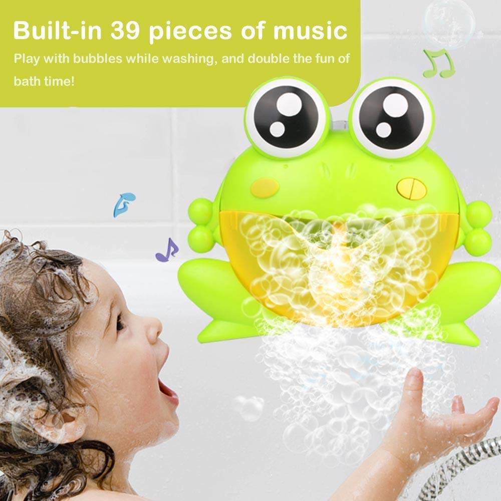 GOUPPER Musical Frog Baby Bath Bubble Machine Automatic Bubble Maker Blower Upgraded 39 Nursery Rhymes Fun Bathtub Bubble Toys for Baby Kids