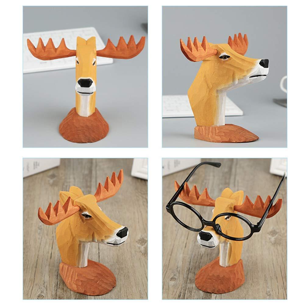xiegons0 Soporte para anteojos Tallado a Mano anteojos de Lectura Soporte para anteojos Soporte para Gafas Jirafa Tallada Juguetes de Animales de Madera para anteojos para ni/ños