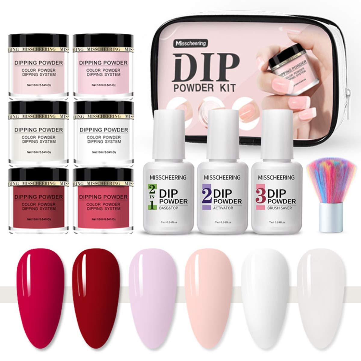 Dipping Powder Nail Starter Kit, 6 Colors Dip Powder System Starter Nail Kit with Brush,French Nail Manicure Nail Art Kit for Home,Salon (Set 1)