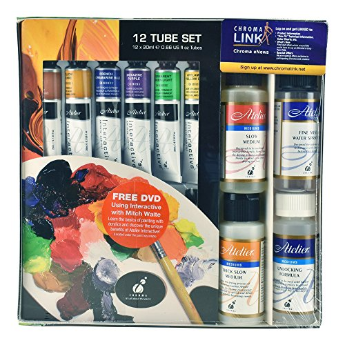 Chroma Atelier Interactive Acrylic Plein Air Set 12 Tube Set 20ml with Mediums