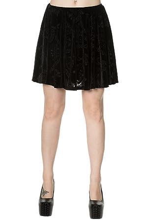9 Lives prohibido terciopelo falda del patinador - Black / S ...